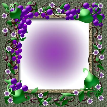grapes vines and flowers on grass weave illustration illustration