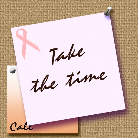 pink ribbon reminder note tacked to bulletin board illustration