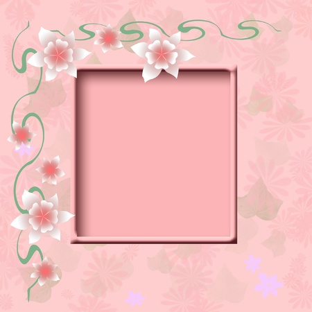 pink mottled background with cutout scrapbook illustration