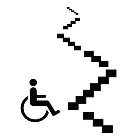 wheelchair at the bottom of stairs illustration black on white