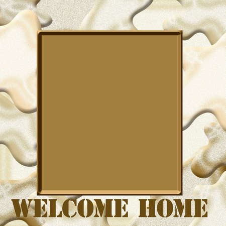 blank center: sand and camouflage frame with blank center scrapbook illustration Stock Photo