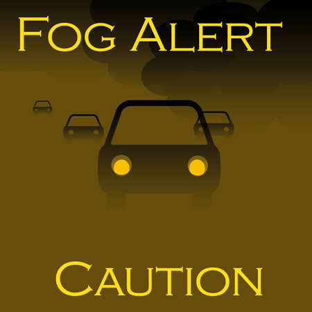 trip hazard: vehicles in the fog  brown and black illustration Stock Photo