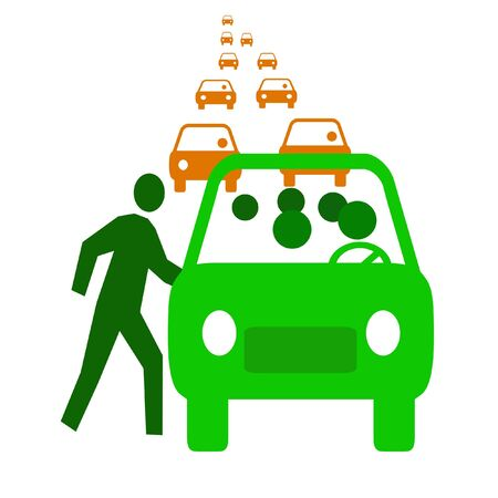 green bus with passengers in traffic  carpool illustration