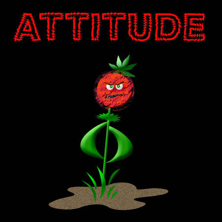weed with an attitude  on black background illustration