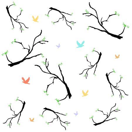 木の大枝や白図にパステルの鳥