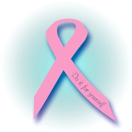 cancer ribbons: pink ribbon phrase self exam poster illustration