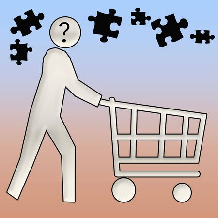 informed: confused shopper pushing a shopping cart illustration Stock Photo