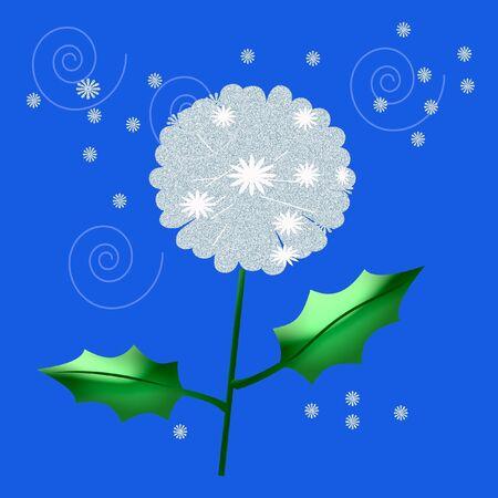 タンポポ雑草種子風イラストに浮かぶ 写真素材