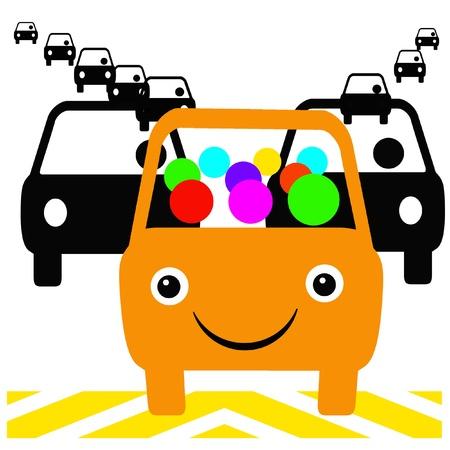 orange bus with passengers in traffic carpool illustration illustration