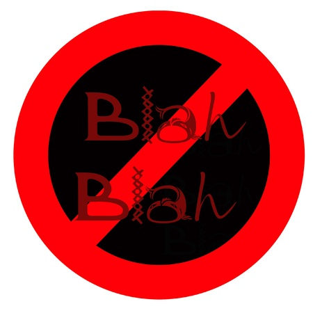 banish: red circle and slash on white with black center illustration Stock Photo