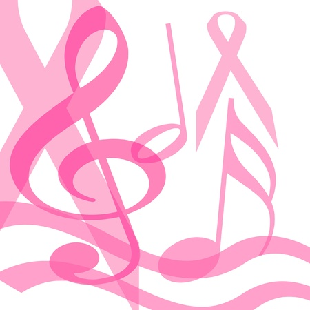 musical symbols and pink ribbons on white illustration Stock Photo