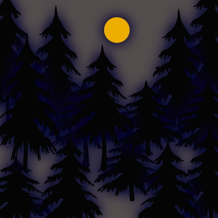 mysterious trees on gray background with golden moon illustration Фото со стока