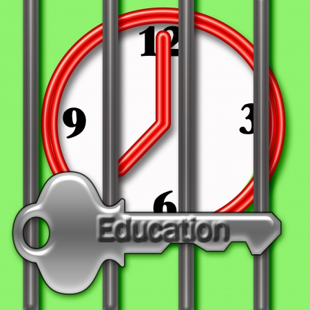 red clock behind metal bars with embossed key illustration
