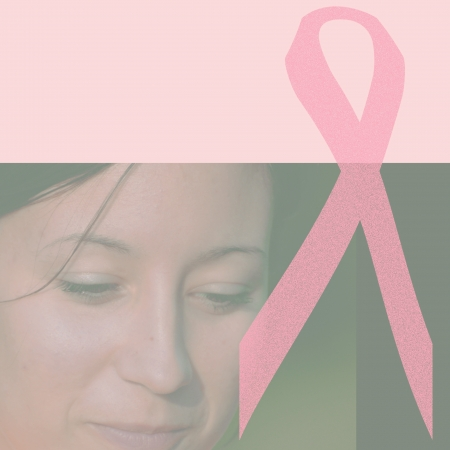 female face and pink ribbon poster illustration Imagens