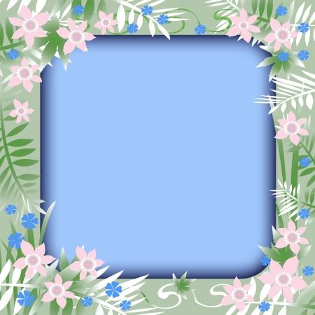 blank center: pastel flowers frame on  blank center illustration Stock Photo
