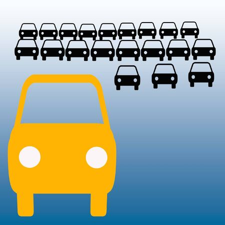 orange bus in crowded parking lot carpool illustration