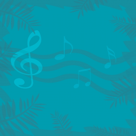 recital: musical symbols and palm fronds on solid background