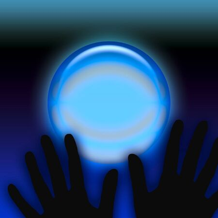 spooky black hands and eerie crystal ball illustration Stock Illustration - 15130896