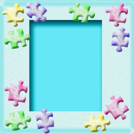 frosted: assorted puzzle pieces around blank center illustration   Stock Photo