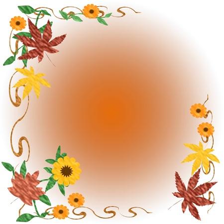 色鮮やかな紅葉とグラデーションの背景イラストをつる