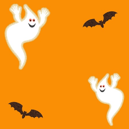 ghosts and bats on orange background Halloween illustration illustration
