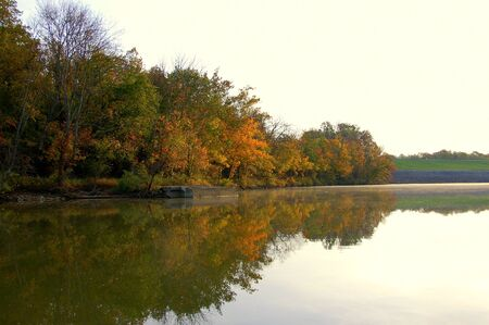 colorful fall trees reflecting on the lake