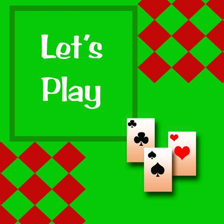 game board and playing cards on green background illustration Stock fotó
