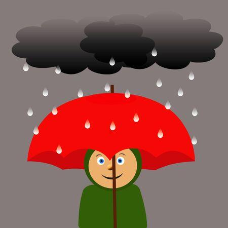 torrent: child with red umbrella in the rain illustration