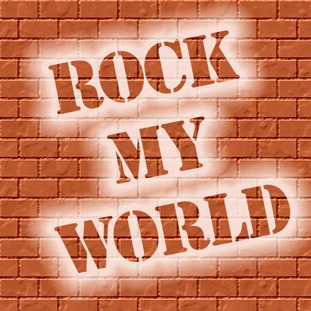stenciled: rock my world stenciled on brick wall illustration