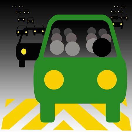 thrifty: green bus in heavy traffic carpool illustration