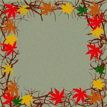 色鮮やかな紅葉とつるのフレームの背景のイラスト 写真素材