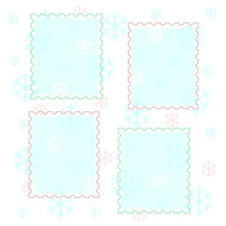 パステル雪と白のイラスト写真フレーム 写真素材