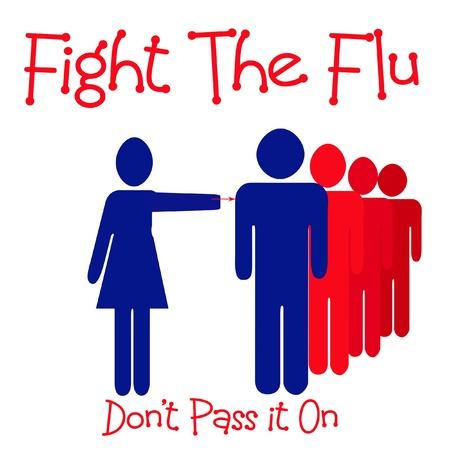 gripe: personas en la fila de vacuna contra la gripe ilustraci�n azul rojo