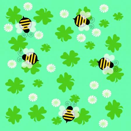 バンブレ蜂と単色の背景イラストのクローバー