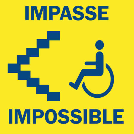wheelchair bound figure a bottom of stairs blue on yellow illustration