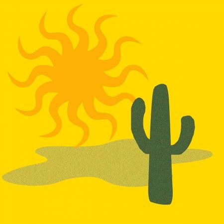green cactus and big golden sun desert illustration