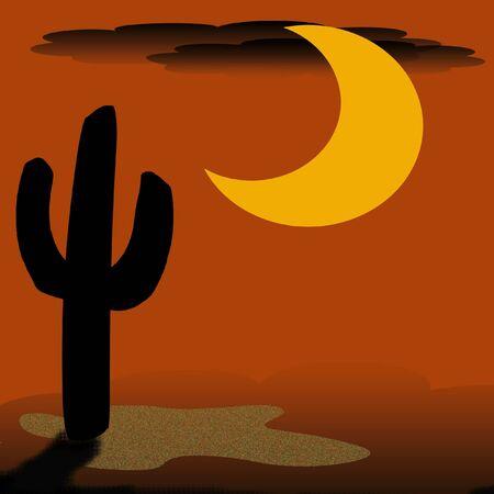 cactus and big golden moon desert illustration  Stock fotó