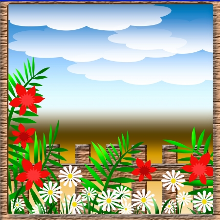 flower garden with wood fence and clouds illustration Stock Illustration - 18255385