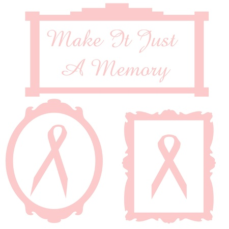 pink ribbons in frames with words illustration
