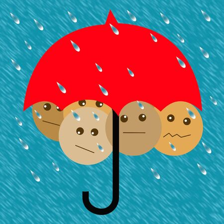 crowded: people crowded under an umbrella in the rain illustration