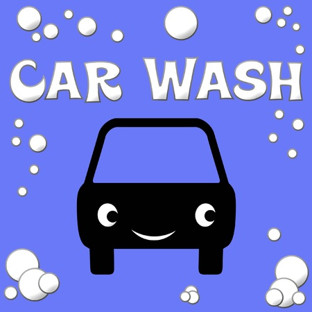 car wash: white car and bubbles on blue background illustration Stock Photo