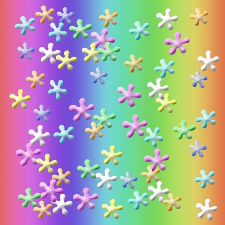 colorful jacks suspended on rainbow background illustration
