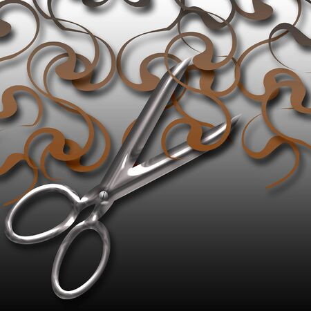 shiny chrome scissors and long curly hair illustration Imagens