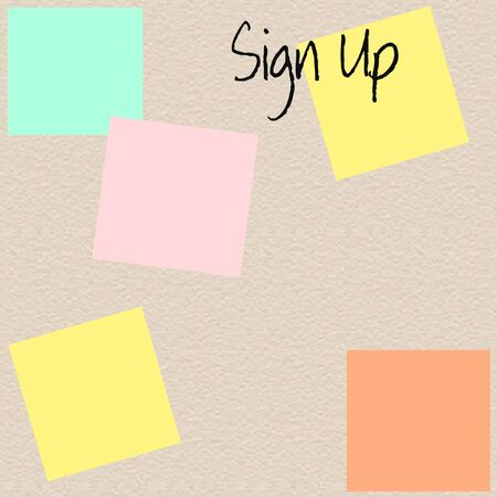 stucco: stucco textured sign up sheet with sticky notes illustration Stock Photo