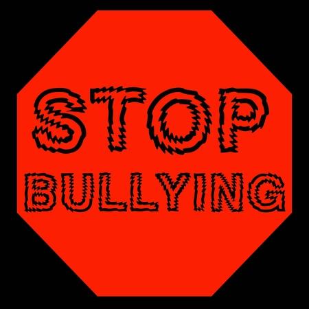 bulling: stop de color rojo bulling letrero en fondo negro ilustraci�n