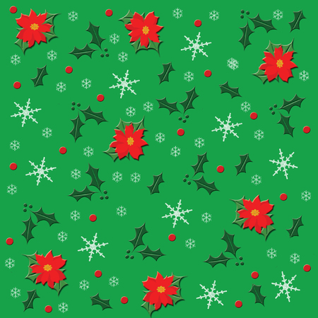 christmas wrapping paper poinsettias on green background Stock fotó