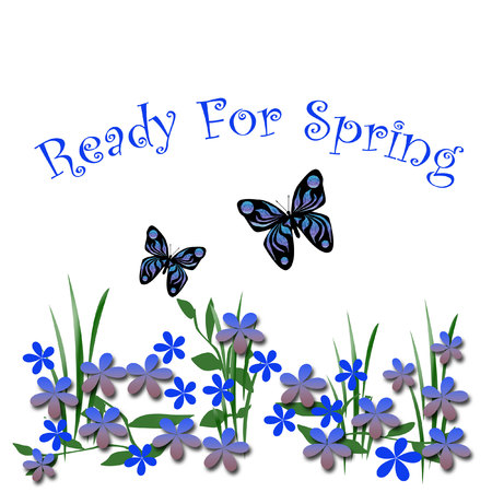 青い春の花と蝶白図 写真素材