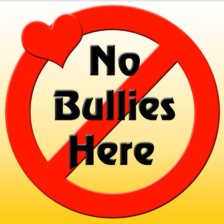 no bullies poster, prohibit symbol with red heart  illustration