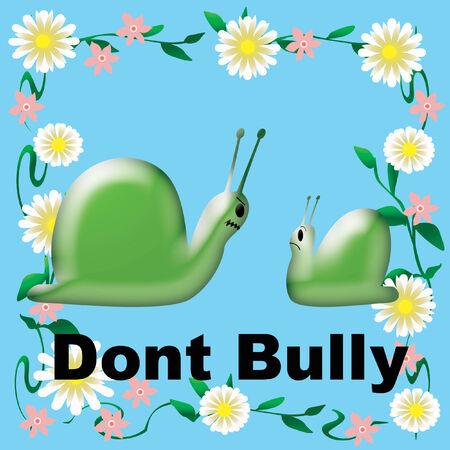 Don t Bully Poster grünen Schnecken im Blumen Rahmen Illustration Standard-Bild - 26790266