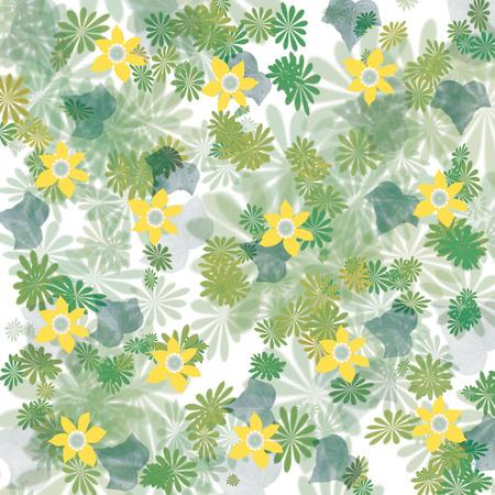 散乱の黄色の花し、葉を背景の図